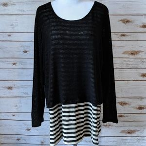 Torrid Black and White Striped Sweater Top 1